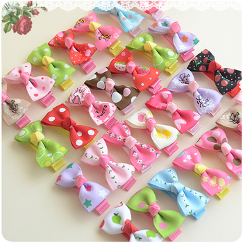 2pcs 1.77 Inch Colorful Barrettes for Baby Girls Boutique Hair Clip Bows Ribbon Hairpins Hairgrip headwear For Children 659