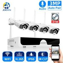 Jooan 8CH NVR HD 3MPกล้องวงจรปิดระบบกล้องเสียงบันทึกกลางแจ้งP2P Wifi IP Securityกล้องชุดการเฝ้าระวังวิดีโอชุด
