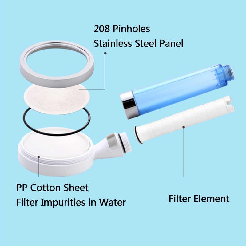 ZhangJI جديد PP القطن تصفية دش رئيس توفير المياه عالية الضغط غرامة تدفق المياه قابل للتعديل الصحة العناية بالبشرة فوهة أعلى درجة