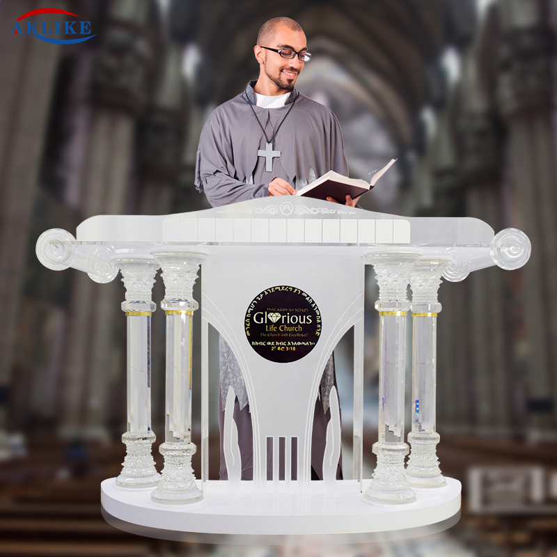 AKLIKE White Gloss Glass Pulpit For Podium Church Organic Pulpits For Churches White Acrylic Podium Speech Podium  Modern Pulpit