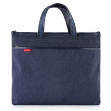 TIANSE A4 Filing Denim Commercial Business Document Bag Tote file folder Meeting Side Zipper Pocket office bags