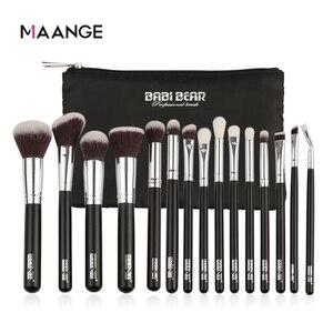 Image 2 - MAANGE 6 15Pcs Makeup Brushes Set Powder Foundation Eyeshadow Cosmetic Make Up Brush With PU Leather Case Beauty Tool Kit