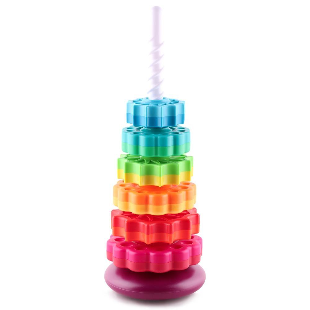 Детская игрушка для укладки Радужная башня, игры для укладки, Обучающие игрушки, штабелируемые блоки