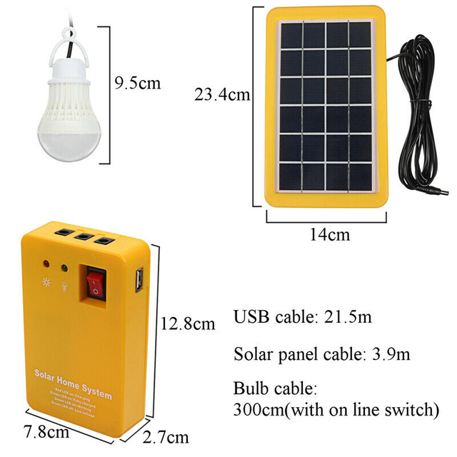 TOP!-Solar Power Panel Generator Usb Charger Home System Outdoor Garden over 2 Led Blubs 5