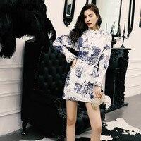 Delocah Elegant Summer Dress Fashion Designer Women Long sleeve Retro Blue and white porcelain Ladies Long Dress vestoidos