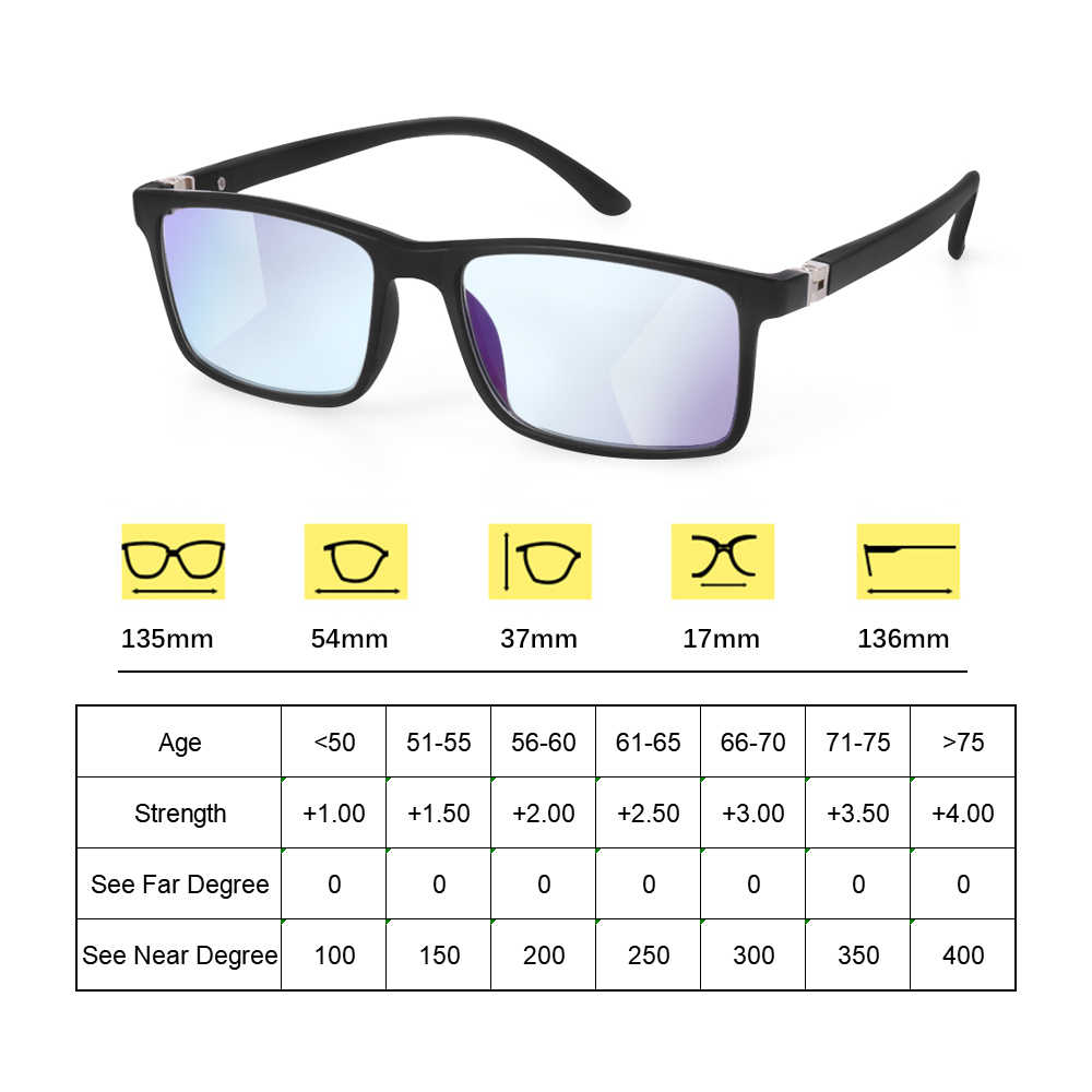 1 個の女性の男性累進多焦点レンズ老眼鏡抗青色光老眼眼鏡遠視視度眼鏡