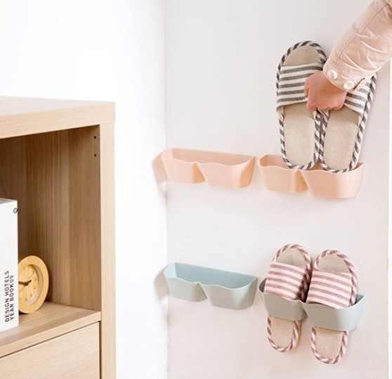Dinding Gantungan Sepatu Plastik Penyimpanan Sepatu Rak Pemegang Space Saver Organizer Sepatu Perekat Gantungan Sepatu Penyimpanan Sepatu Rak