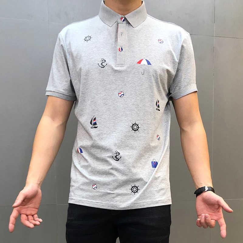 2020 새로운 브랜드 폴로 셔츠 남성 여름 짧은 소매 클래식 옴므 의류 캐주얼 코 튼 럭셔리 디자이너 슬림 인쇄 패션 탑스