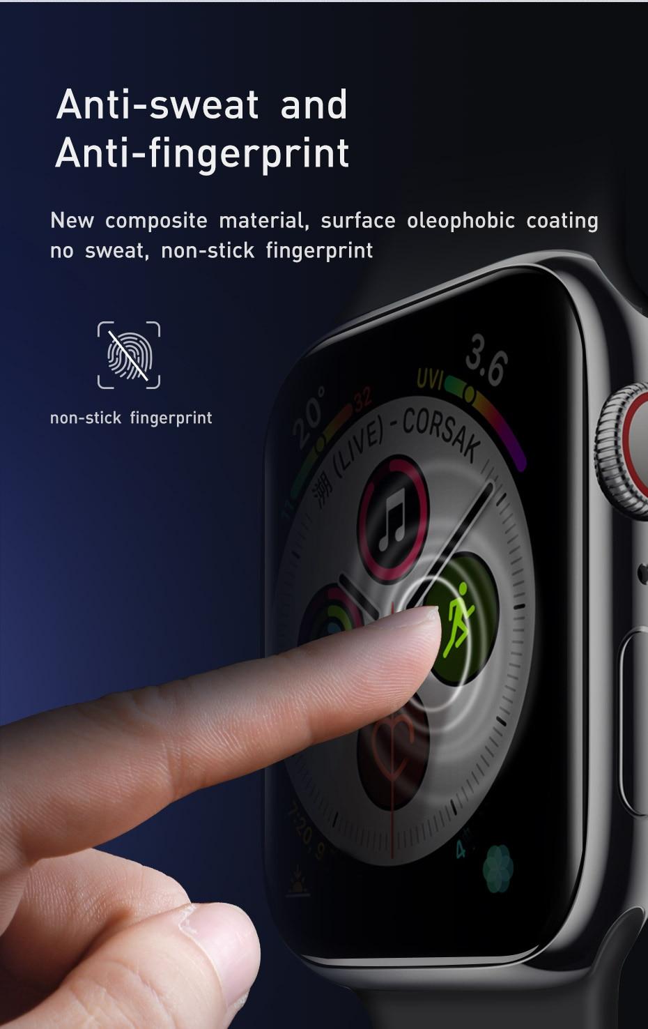 Baseus 0.2mm Kính cường lực mềm cho iWatch 4 40 44mm 3D Bảo vệ màn hình cong toàn màn hình cho iWatch 3 2 1 38 42mm Glass