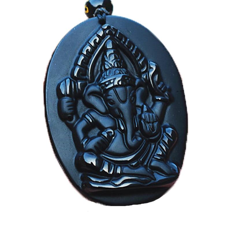 Obsidian preto pedra pingentes colar esculpido elefante pingente de - Jóias