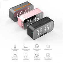 Bluetooth Speaker Alarm-Clock Subwoofer Desktop-Mirror Music-Column Screen-Display Hifi