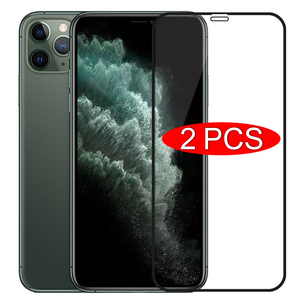 2PCS Full Cover Glass on the For iPhone 11 Pro XR X XS Max Tempered Screen Protector For iPhone 7 6 6s 8 Plus SE 2020 11 Glass(China)
