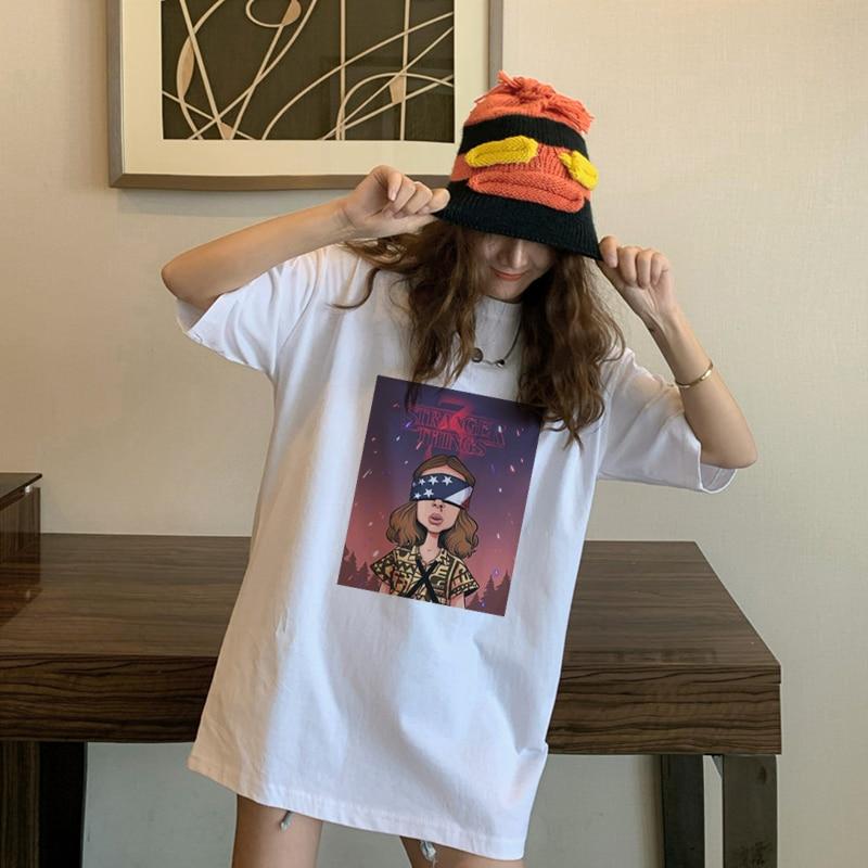 Stranger Things 3 fun aesthetic cartoon print T-shirt upside-down Harajuku T-shirt top T-shirt women park punk vintage jersey(China)