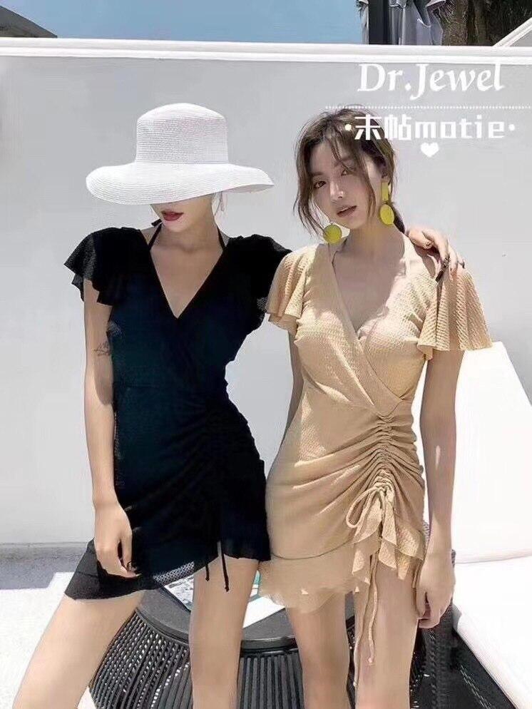 Women's Conservative One-Piece Dress Hot Spring Swimsuit  women  bathing suit women swimwear women