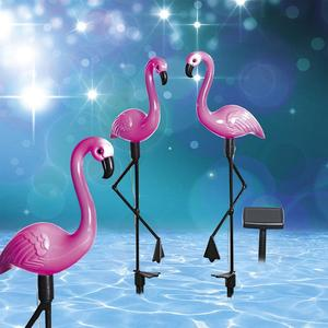 3PCS Led Flamingo Waterproof Solar Lawn Light Outdoor Garden Decoration Light Garden Floor With Landscape Lights