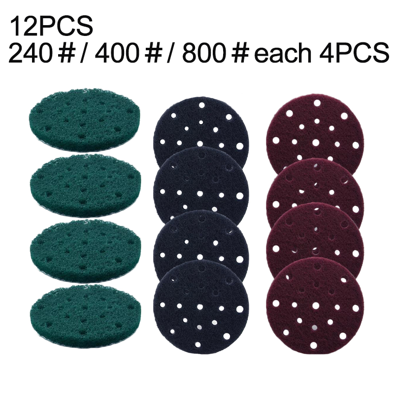 12pcs/Set 6 Inches(150mm) 17-Hole Nylon Hook And Loop Round Scouring Pads Durable Home Supply