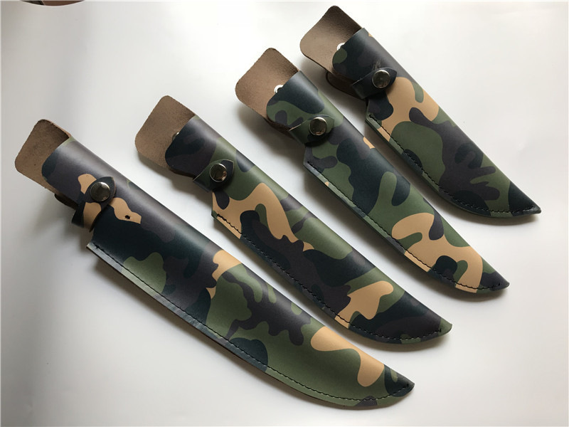 Camouflage Leather Sheath Fixed Blade Knife Straight Knife Scabbard Pouch, 4 Sizes(China)