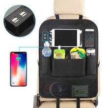 Lnav organizador de asiento trasero de coche bolsa con 4 cable de cargador USB