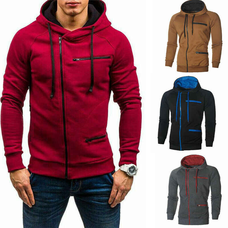 Active Men Hoodies Jackets Autumn Winter Slim Fit Warm Hooded Coats Jacket Casual Long Sleeve Zipper Outerwear Fashion Men Coats