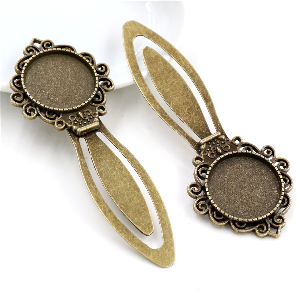 New Fashion 2pcs 20mm Inner Size Antique Bronze Vintage Style Handmade Bookmark Cabochon Base  Cameo Setting (I1-16)