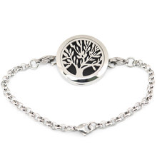 Tree of life 30mm Magnet Aromatherapy Essential Oils Stainless Steel Perfume Diffuser 7-8Locket bracelet  free 10pcs felt pdas