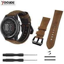 Fenix 6X 26mm Genuine Leather Watch Band Strap with Lugs Adapters for Garmin Fenix 3/3 HR/Quatix 3/Tactix Bravo/Fenix 5X/5X Plus