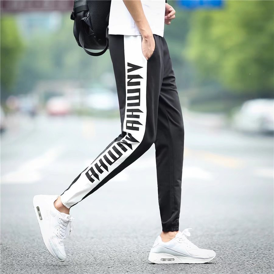 Summer New Style Men's Casual Pants Teenager Thin Sports Harem Pants Elastic Waist Korean-style Slim Fit Stretch Trousers