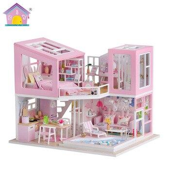 DIY 3D de madera miniatura hecho a mano muebles de muñeca casa modelo edificio Kits juguetes casa de muñecas para niños adultos regalos de cumpleaños M915