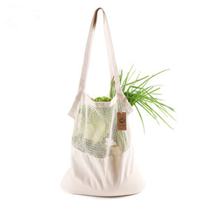 Eco-friendly Cotton Shopping Bag Ecobag Fruits And Vegetables Shoulder Cotton Mesh Bag Long Portable Cotton Mesh Bag(China)