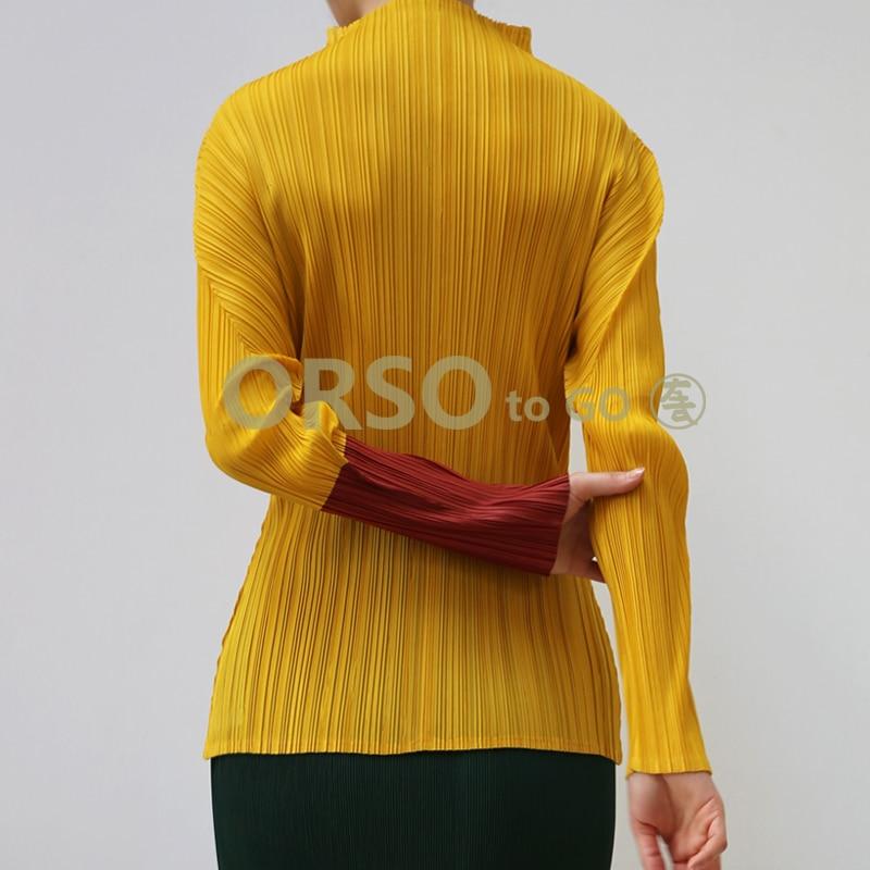 High Fashion Frühling Solide T Shirts Frauen Designer Langarm Falten T Shirt Weibliche Büro Arbeit Tragen Hemd Tops Elegante - 3