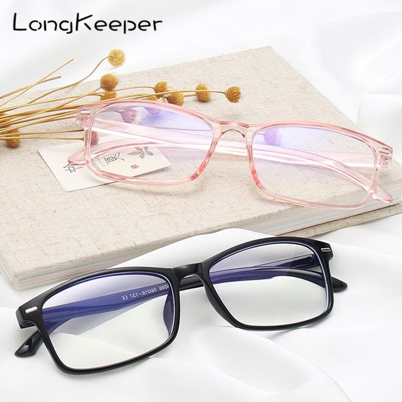LongKeeper New Designer Woman Men Eyeglasses Optical Frames Rectangle Glasses Frame Clear Lens Eyeware Black Blue Eye Glass