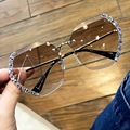 Женские солнцезащитные очки без оправы, винтажные квадратные очки большого размера с бриллиантами, 2020
