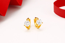 Gold-plated new simple zircon earrings women hot sale models ladies birthday party accessories