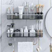 Punch free Bathroom Shelf Shampoo Cosmetic Towel Storage Rack Organizer Bath Corner Holder Household Items Bathroom Accessories