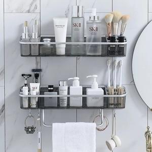 Image 1 - Punch free Bathroom Shelf Shampoo Cosmetic Towel Storage Rack Organizer Bath Corner Holder Household Items Bathroom Accessories