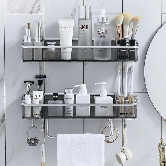Punch free Bathroom Shelf Shampoo Cosmetic Towel Storage Rack Organizer Bath Corner Holder Household Items Bathroom Accessories