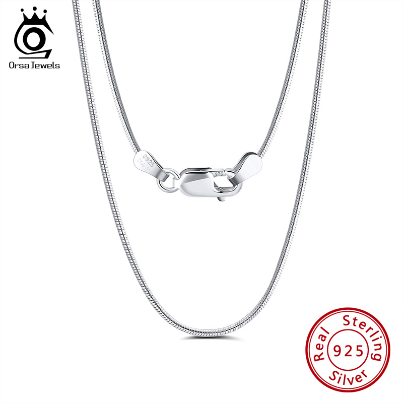 ORSA JEWELS Italian 925 Sterling Silver 2.0mm Round Snake Chain Necklace Sterling Silver Men Necklaces Chains Jewelry SC31
