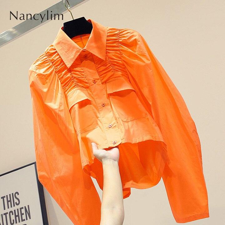 Chemise blanche femmes automne nouveau coréen lâche à manches longues conception courte Blouse bureau Blusas Slim décontracté hauts femme 3 couleurs