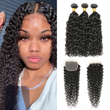 Water-Wave-Bundles Hair-Extensions Closure Lace Human Alianna Peruvian with Swiss 5x5