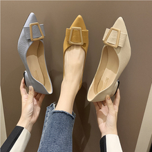Shallow mouth pointed thick with womens shoes fashion temperament buckle professional set foot comfortable ladies