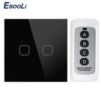Esooli UE/Reino Unido estándar de 1 2 3 pandilla 1 manera Interruptor táctil con mando a distancia de cristal de lujo de vidrio Normal Interruptor táctil
