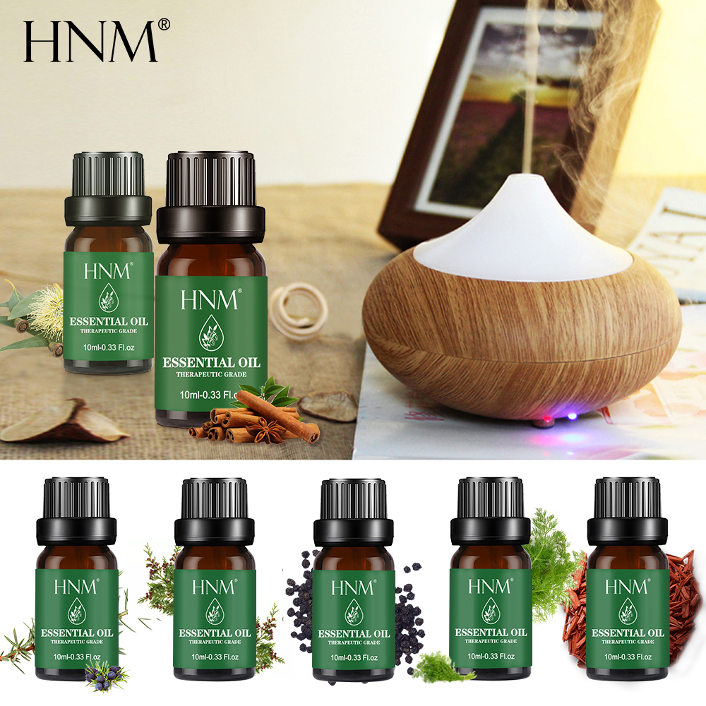 HNM Pure Essential Oils 10ML Massage Humidifier Orange Lemongrass Tea Tree Grapefruit Juniper Vanilla Basil  Oil Essential