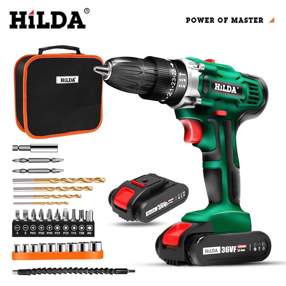 HILDA Electric Drill Cordless Screwdriver Lithium Battery Two-speed Mini Drill Cordless Screwdriver Power Tools