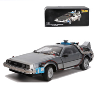 1/18 Scale Alloy Car Diecast Model Part 3 Time Machine DeLorean Metal Vehicle Toy Welly Back To The Future F Kid Adult Fan Gifts
