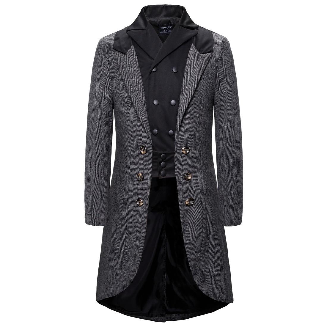 Men's new business personality long style windbreaker jacket evening dress gentleman casual European size XXL