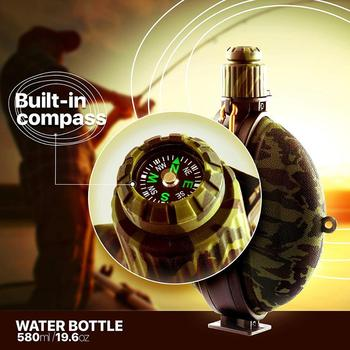 Collapsible Military Water Bottle Hiking Accessories Silicone Water Kettle Canteen with Compass Bottle Cap for Tourism Camping 2