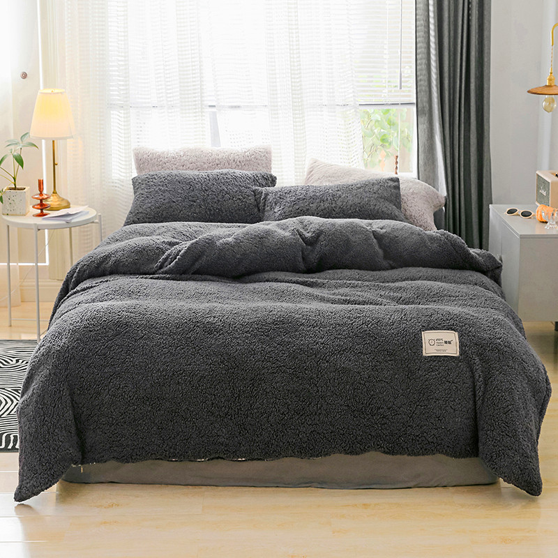 Luxury Plush Shaggy Solid Color Bedding Set Warm Soft Perfect For Winter Duvet Cover Bed Sheet Pillowcase Twin Queen 1/3/4Pcs