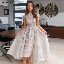 Gold High Neck Luxury Asymmetrical Evening Dresses 2020 Short Sleeve Lace Beading Evening Gowns Serene Hill LA70227