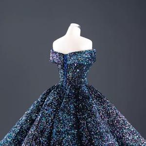 Image 5 - J66991 Jancember bleu Quinceanera robe 2020 chérie manches courtes épaules dénudées paillettes robes de soirée pour grande taille