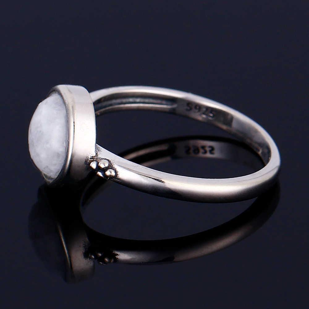 2019 925 แหวนเงินรอบ 8 มม.ธรรมชาติมูนสโตนแหวนพลอยงานแต่งงานงานแต่งงานของขวัญขายส่ง